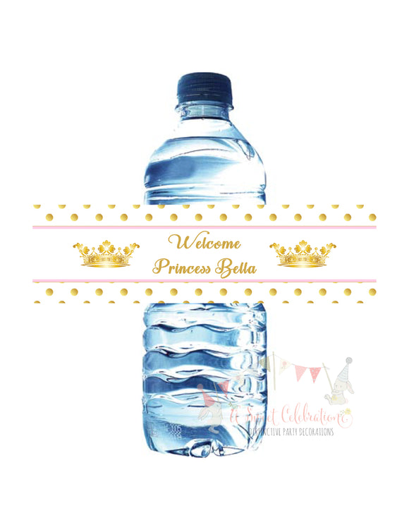 PRINCESS - BABY SHOWER - PINK & GOLD WATER BOTTLE LABELS
