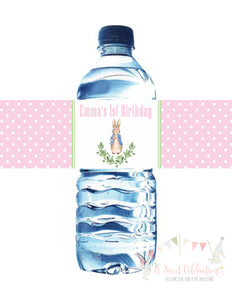 PETER RABBIT WATERCOLOR PINK - PRINTABLE WATER BOTTLE LABEL