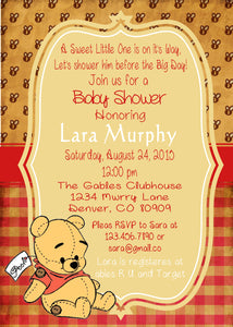 WINNIE THE POOH VINTAGE BEAR - BABY SHOWER- PRINTABLE INVITATION - FREE MATCHING THANK YOU - JPG/PDF