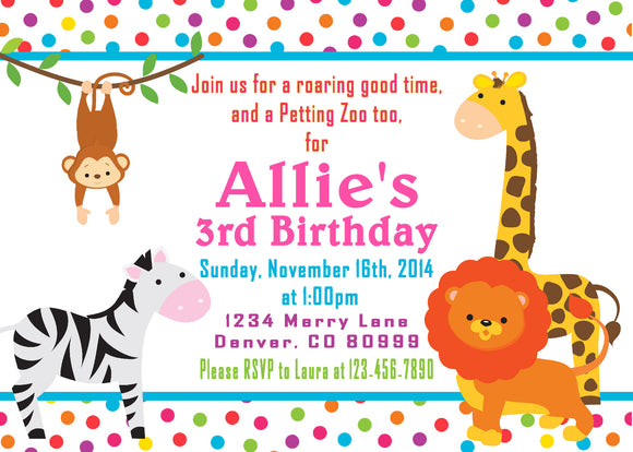 SAFARI JUNGLE - PRINTABLE BIRTHDAY INVITATION -FREE MATCHING THANK YOU