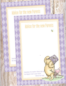 WINNIE THE POOH AND PIGLET LAVENDER  - BABY SHOWER  -PRINTABLE ADVICE FOR THE NEW MOMMY CARD