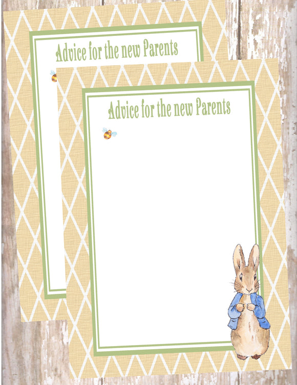 PETER RABBIT LINEN - BABY SHOWER - PRINTABLE ADVICE FOR THE NEW PARENTS - JPG/PDF