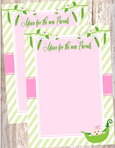 SWEET PEA - BABY SHOWER - PRINTABLE ADVICE CARDS FOR THE NEW PARENTS