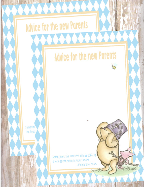 WINNIE THE POOH AND PIGLET BLUE - BABY SHOWER  - ADVICE FOR THE NEW MOMMY CARD