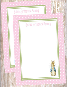 PETER RABBIT PINK - BABY SHOWER -PRINTABLE ADVICE FOR THE NEW MOMMY CARD - JPG/PDF