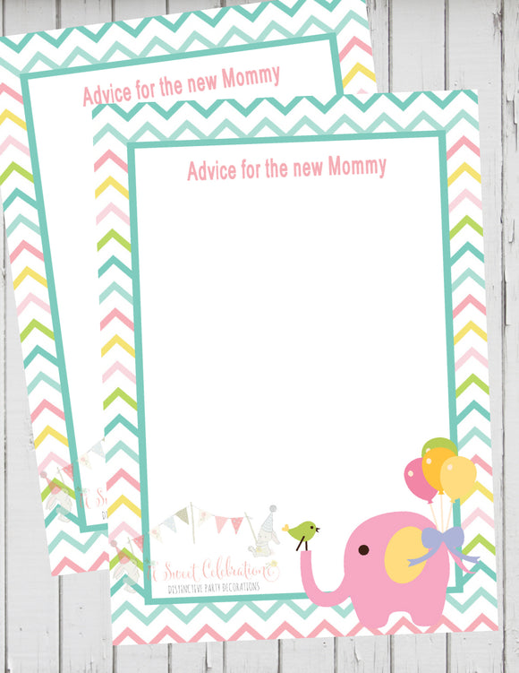 CIRCUS PINK ELEPHANT - PRINTABLE ADVICE FOR THE NEW MOMMY CARD - DIY JPG/PDF