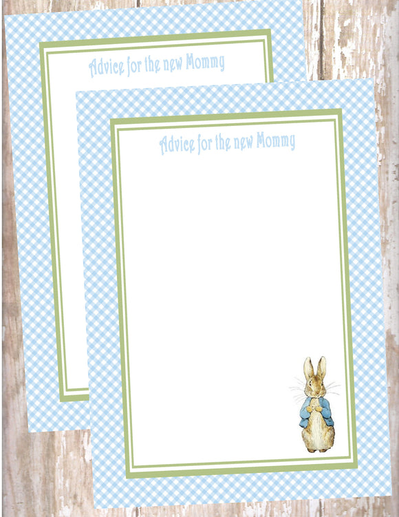PETER RABBIT BLUE - BABY SHOWER  - PRINTABLE ADVICE FOR THE NEW MOMMY CARD - JPG/PDF