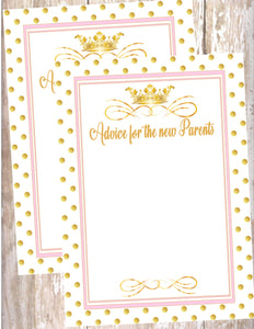 PRINCESS - BABY SHOWER - PRINTABLE ADVICE FOR THE NEW PARENTS CARD