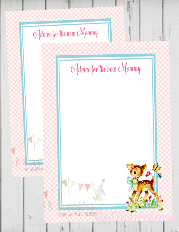 BAMBI - WOODLAND DEER - BABY SHOWER -  ADVICE FOR THE NEW MOMMY CARD