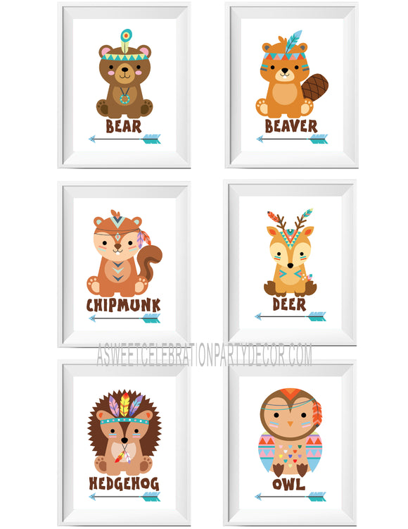 TRIBAL ANIMALS - PRINTABLE PRINTS - SET OF 6 PRINTS - JPG ONLY