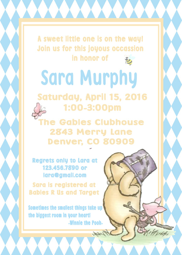 WINNIE THE POOH AND PIGLET BLUE - BABY SHOWER INVITATION