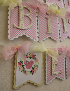 MINNIE MOUSE FLORAL LEMONADE - HAPPY BIRTHDAY BANNER LEMONADE PINK AND YELLOW