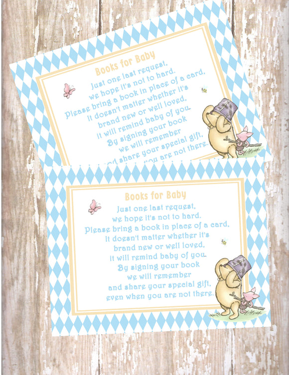 WINNIE THE POOH AND PIGLET BLUE - BABY SHOWER - BOOK INSTEAD OF A CARD REQUEST