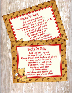 WINNIE THE POOH VINTAGE BEAR- BABY SHOWER  - PRINTABLE BOOK INSTEAD OF A CARD REQUEST - JPG/PDF