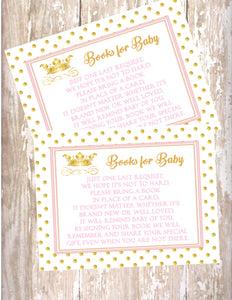 PRINCESS - BABY SHOWER - BOOK INSTEAD OF A CARD REQUEST