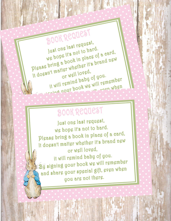 PETER RABBIT PINK - BABY SHOWER - PRINTABLE BOOK INSTEAD OF A CARD REQUEST - JPG/PDF