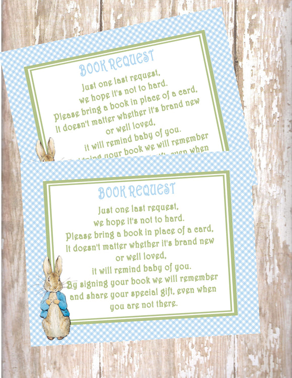 PETER RABBIT BLUE - BABY SHOWER - PRINTABLE BOOK INSTEAD OF A CARD REQUEST - JPG/PDF