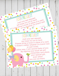CIRCUS PINK ELEPHANT - BABY SHOWER - PRINTABLE BOOK INSTEAD OF A CARD REQUEST - JPG/PDF