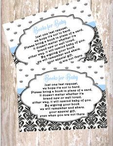 PRINCE - BABY SHOWER PRINTABLE - BOOK INSTEAD OF A CARD REQUEST - JPG/PDF ONLY