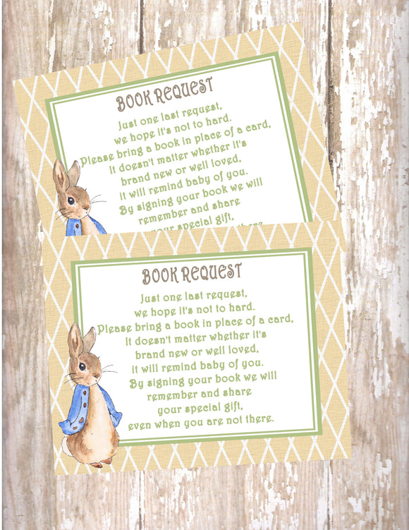 PETER RABBIT LINEN - BABY SHOWER - PRINTABLE BOOK INSTEAD OF A CARD REQUEST - JPG/PDF