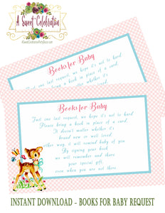 BAMBI - WOODLAND DEER - BABY SHOWER  - PRINTABLE BOOK INSTEAD OF A CARD REQUEST - INSTANT DOWNLOAD JPG