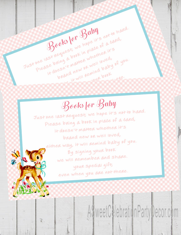 BAMBI - WOODLAND DEER - BABY SHOWER  -  BOOK INSTEAD OF A CARD REQUEST