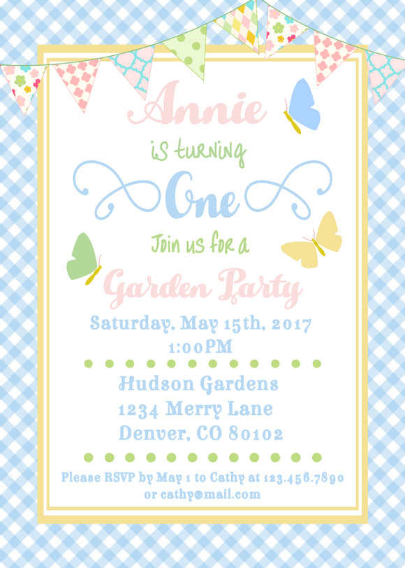 BUTTERFLY KISSES - BIRTHDAY - PRINTABLE INVITATION - FREE MATCHING THANK YOU