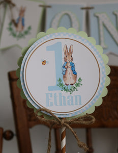 PETER RABBIT WATERCOLOR BLUE - CAKE TOPPER
