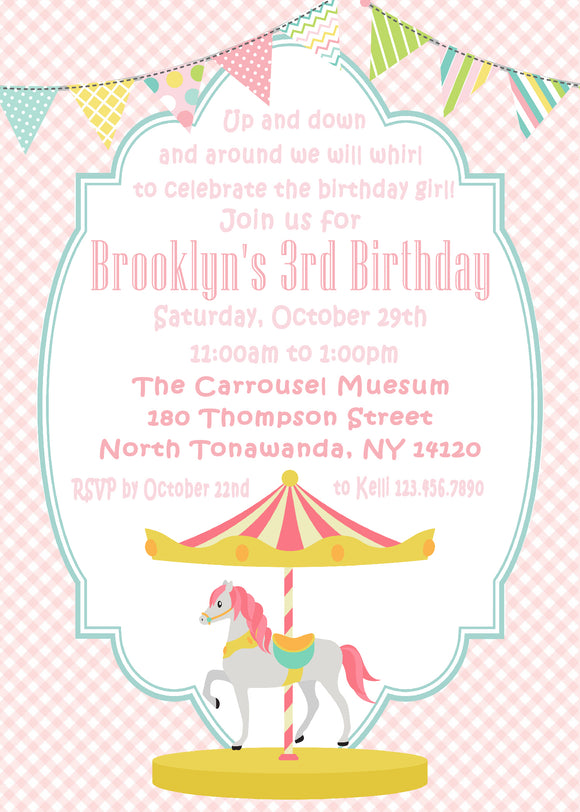 CAROUSEL HORSE - PRINTABLE BIRTHDAY INVITATION - FREE MATCHING THANK YOU