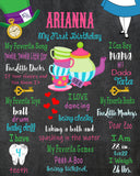 ALICE IN WONDERLAND - PRINTABLE CHALKBOARD BIRTHDAY MILESTONE SIGN