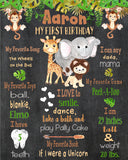 ANIMAL SAFARI - JUNGLE - PRINTABLE CHALKBOARD BIRTHDAY MILESTONE SIGN - DIY