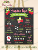BERRY SWEET - STRAWBERRY - PRINTABLE CHALKBOARD BIRTHDAY MILESTONE SIGN