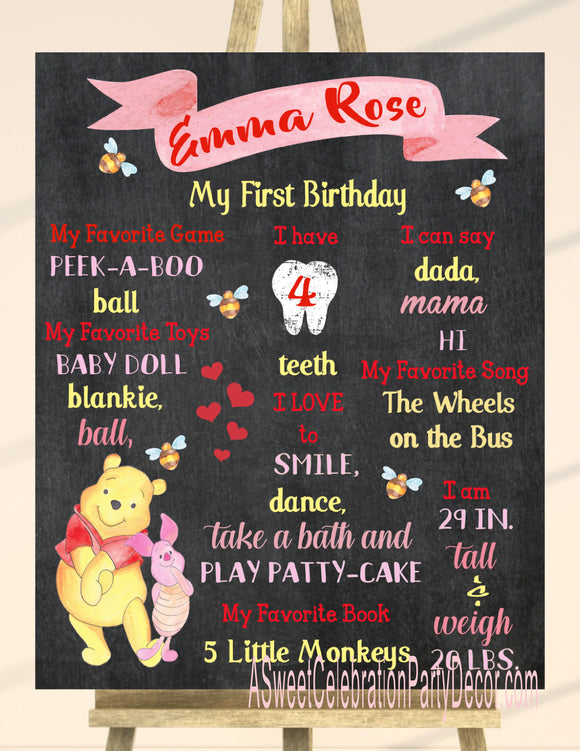 WINNIE THE POOH - FLORAL - PRINTABLE CHALKBOARD BIRTHDAY MILESTONE SIGN 1ST YEAR CHALKBOARD