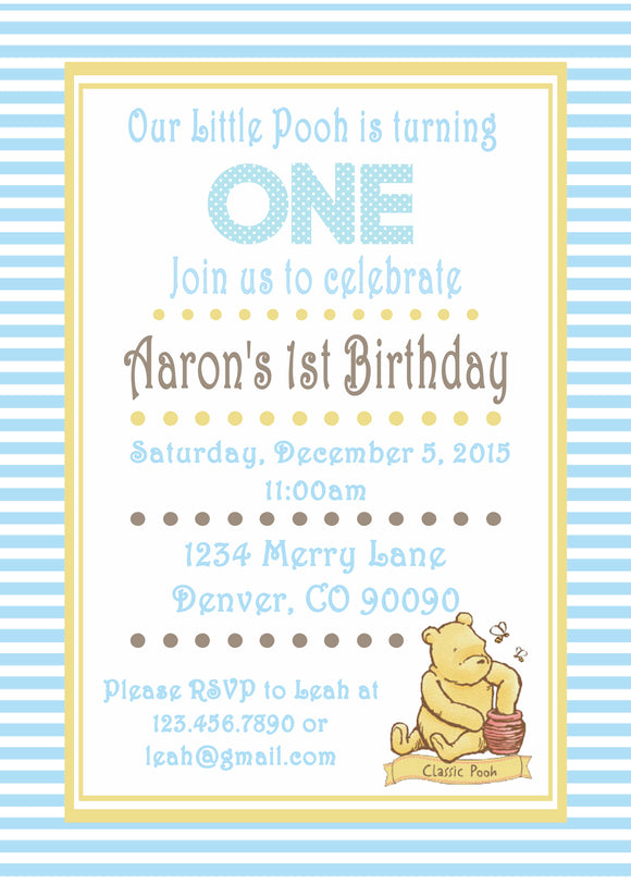 WINNIE THE POOH CLASSIC BLUE - PRINTABLE BIRTHDAY INVITATION - FREE MATCHING THANK YOU