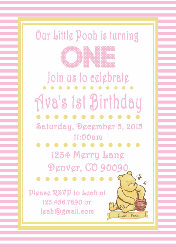 WINNIE THE POOH CLASSIC PINK - PRINTABLE BIRTHDAY INVITATION - FREE MATCHING THANK YOU