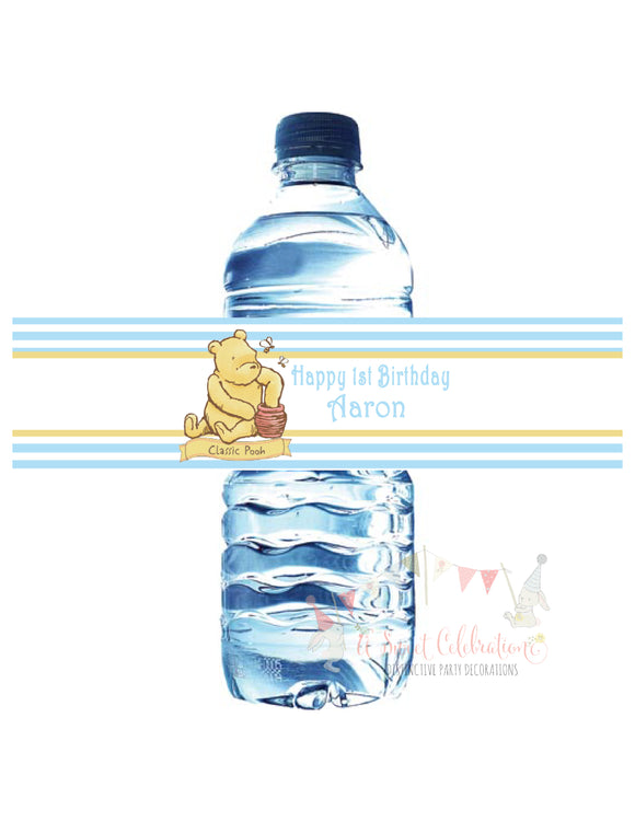 WINNIE THE POOH CLASSIC BLUE - PRINTABLE WATER BOTTLE LABEL