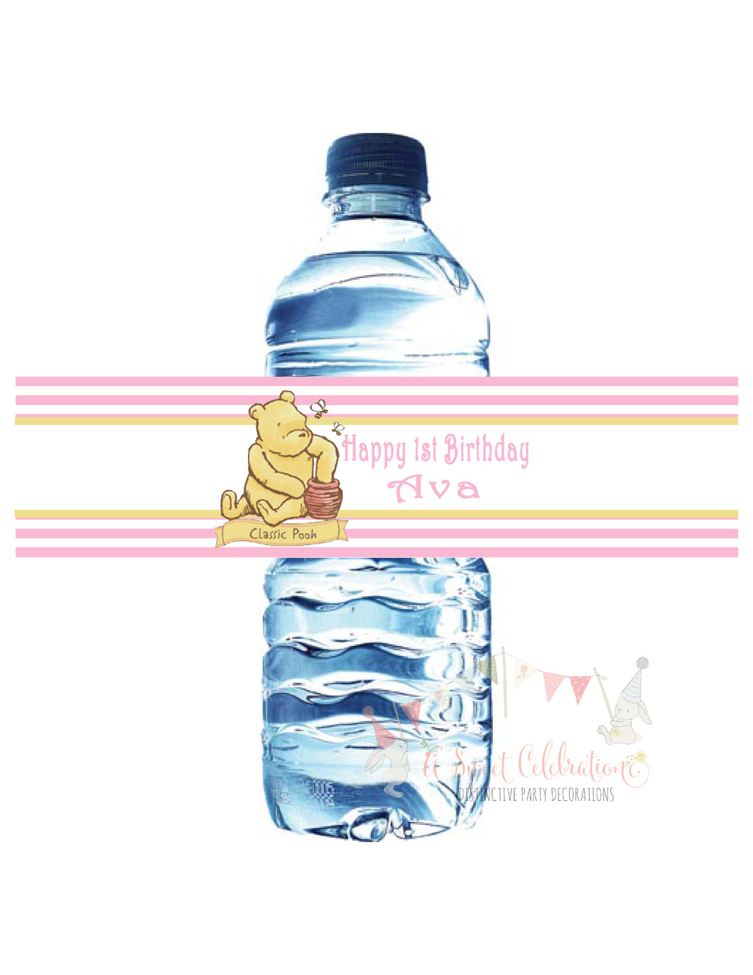 WINNIE THE POOH CLASSIC PINK - WATER BOTTLE LABEL