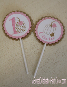 PUMPKIN PINK AND GOLD - CUPCAKE TOPPERS