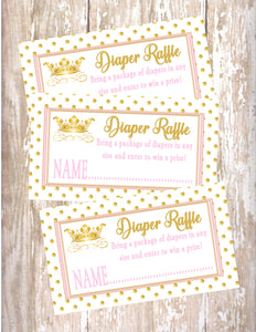 PRINCESS - BABY SHOWER  - PRINTABLE DIAPER RAFFLE CARDS