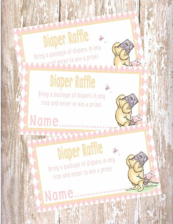 WINNIE THE POOH AND PIGLET PINK - BABY SHOWER - PRINTABLE DIAPER RAFFLE CARDS - JPG/PDF
