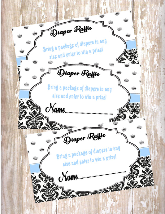 PRINCE - BABY SHOWER  DIAPER RAFFLE CARDS