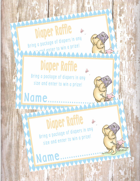 WINNIE THE POOH AND PIGLET BLUE - BABY SHOWER  - PRINTABLE DIAPER RAFFLE CARDS