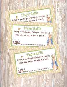 PETER RABBIT LINEN - BABY SHOWER - PRINTABLE DIAPER RAFFLE CARDS - JPG/PDF