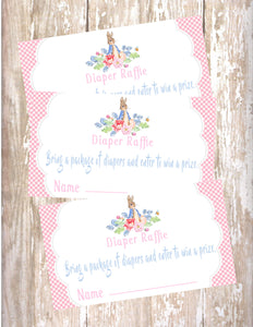 PETER RABBIT FLORAL - BABY SHOWER -PRINTABLE DIAPER RAFFLE CARDS - JPG/PDF
