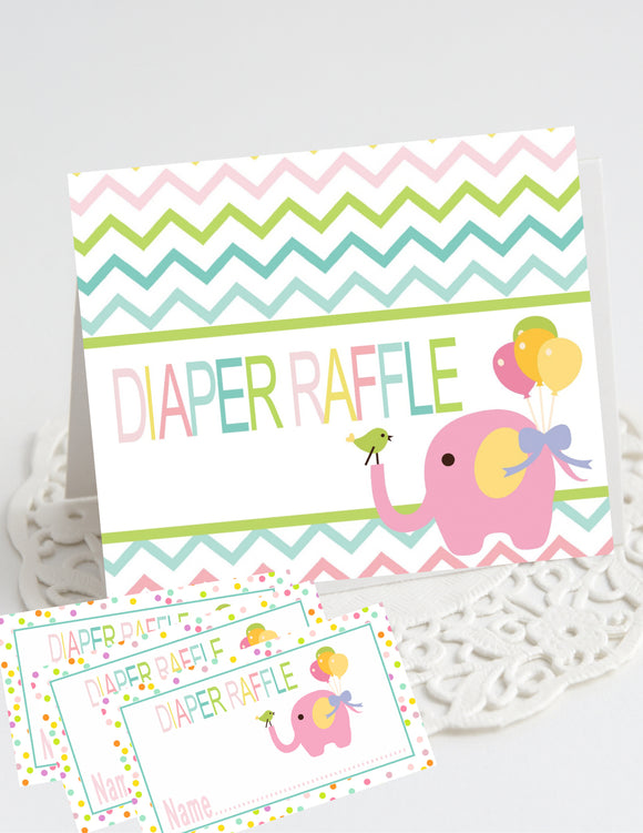 CIRCUS PINK ELEPHANT- BABY SHOWER - PRINTABLE DIAPER RAFFLE CARDS - JPG/PDF