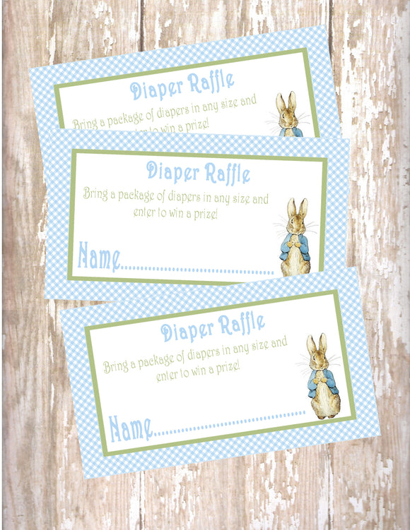 PETER RABBIT BLUE - BABY SHOWER - PRINTABLE DIAPER RAFFLE CARDS - JPG/PDF