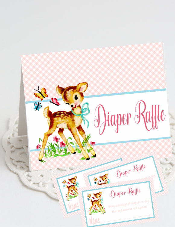 BAMBI - WOODLAND DEER - BABY SHOWER - DIAPER RAFFLE CARDS