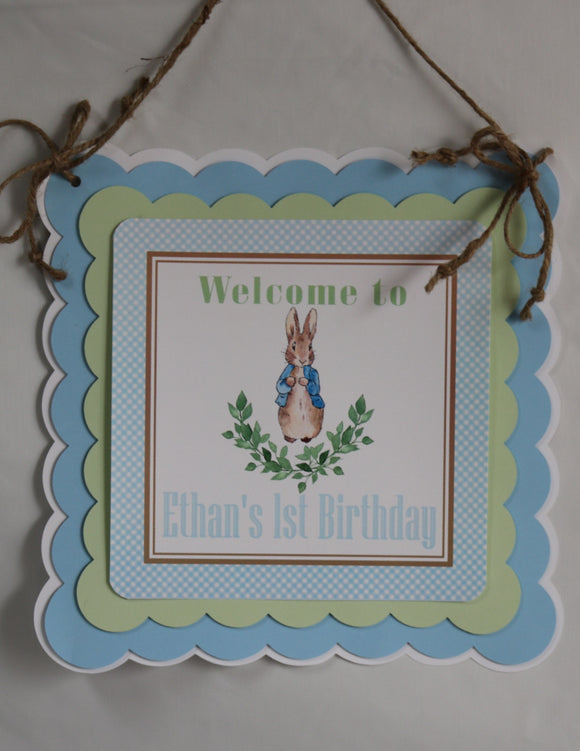 PETER RABBIT WATERCOLOR BLUE - DOOR BANNER