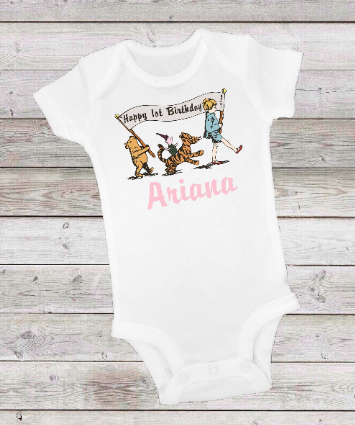 CLASSIC WINNIE THE POOH PARADE PINK BIRTHDAY -  ONESIE OR T-SHIRT
