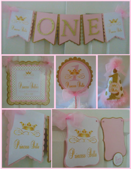PRINCESS  PINK AND GOLD - PETITE -  1ST BIRTHDAY PARTY PACKAGE